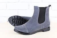 Ботинки женские, демисезонные, серые, из натуральной замши, на байке, на резинке, без каблука