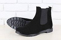 Ботинки женские, демисезонные, черные, из натуральной замши, на байке, на резинке, без каблука