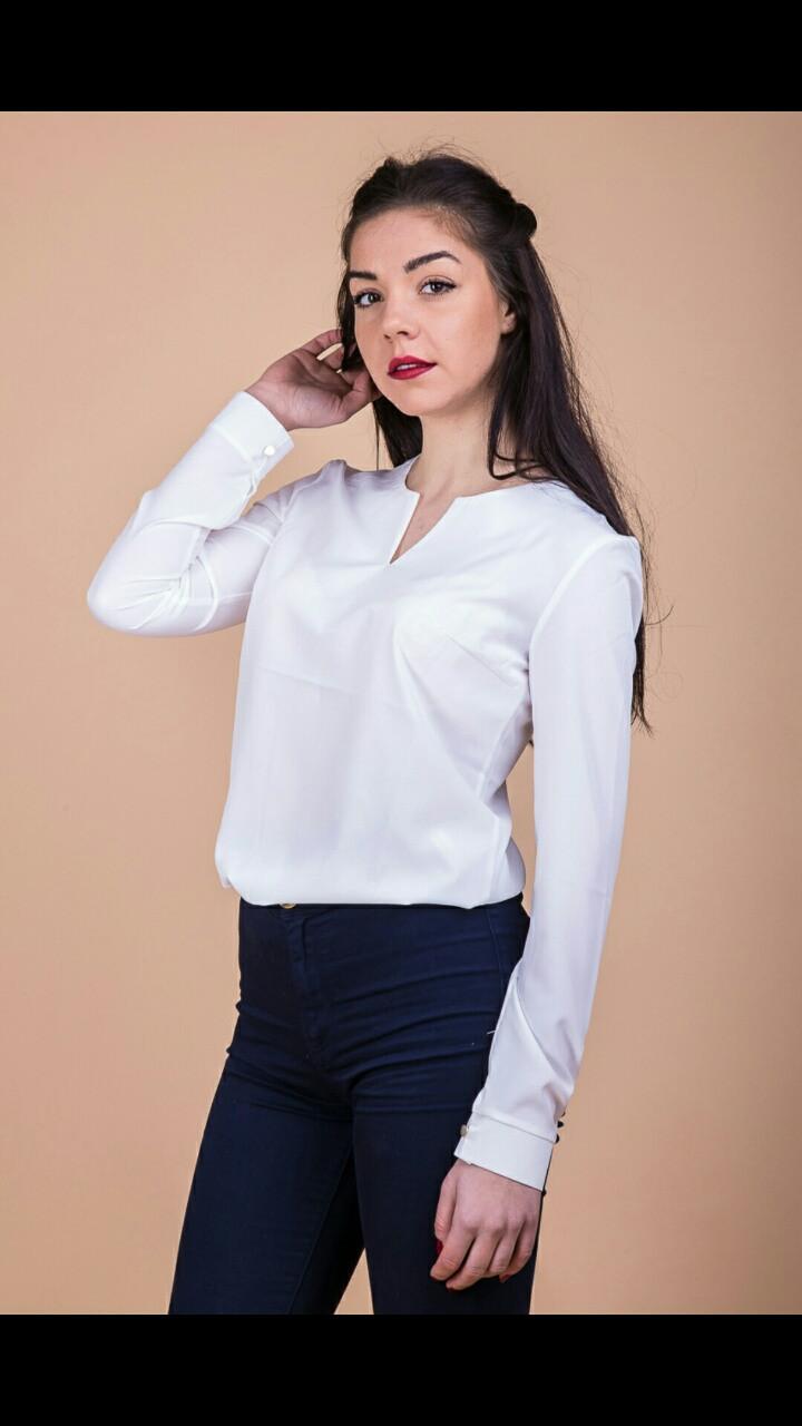 1758c7f596f Блузка классика женская длинный рукав белая  продажа