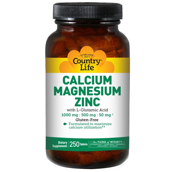 Пищевая добавка Кальций магний и цинк 250 таблеток country life
