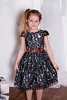 Нарядное платье для девочки Гипюр с брошью TM Brendinno, 4 размера