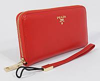 Кошелек женский кожаный на молнии Prada 60019-B красный, расцветки