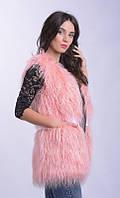 Жилет из меха ламы, цвет нежно-розовый, длина 70 см