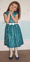 Нарядное платье для девочки Гипюр бирюзовое TM Brendinno, 4 размера
