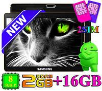 3G Планшет 10 дюймов SAMSUNG 10 IPS экран 8- ядерный 2 Гб 16 Гб GPS навигатор android поддержка 2 сим подарки