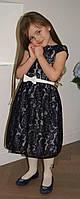 Нарядное платье для девочки Гипюр темно-синее TM Brendinno, 4 размера