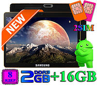 "Планшет 3 в 1 Смартфон Навигатор SAMSUNG TAB 10"" 8 ядерный 2 Gb 16 Gb IPS 3G WiFi 2 sim подарки чехол и пленка"