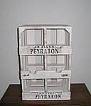 Деревянная подставка для вина. Ящик винный на 6 бутылок бело-коричневый