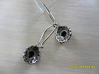 РАСПРОДАЖА!! Серьги серебро 925 пробы, камень под оникс.