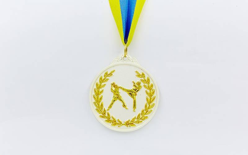Медаль спортивная с лентой двухцветная d-6,5см Единоборства C-4853 -2 серебро