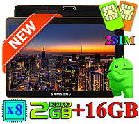 3G Планшет 10 дюймов SAMSUNG TAB IPS экран 8 ядерный 2Гб 16Гб GPS навигатор android поддержка 2 сим подарки