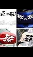 """Виниловая наклейка на машину белая """"крылья""""."""