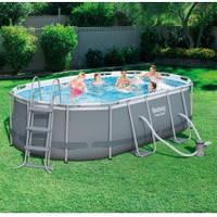 Каркасный бассейн BestWay 56620,424-250-100см, фильтр-насос ,лестница , подстилка, тент