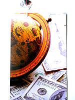 Подарочный пакет Мини 9х12х3,5 Глобус, деньги
