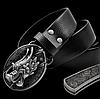 Мужской кожаный ремень с ножом. Модель 2149