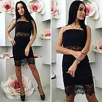 Платье нарядное по фигуре , ткань дайвинг, кружево Цвет черный фото реал супер качество ля № парус