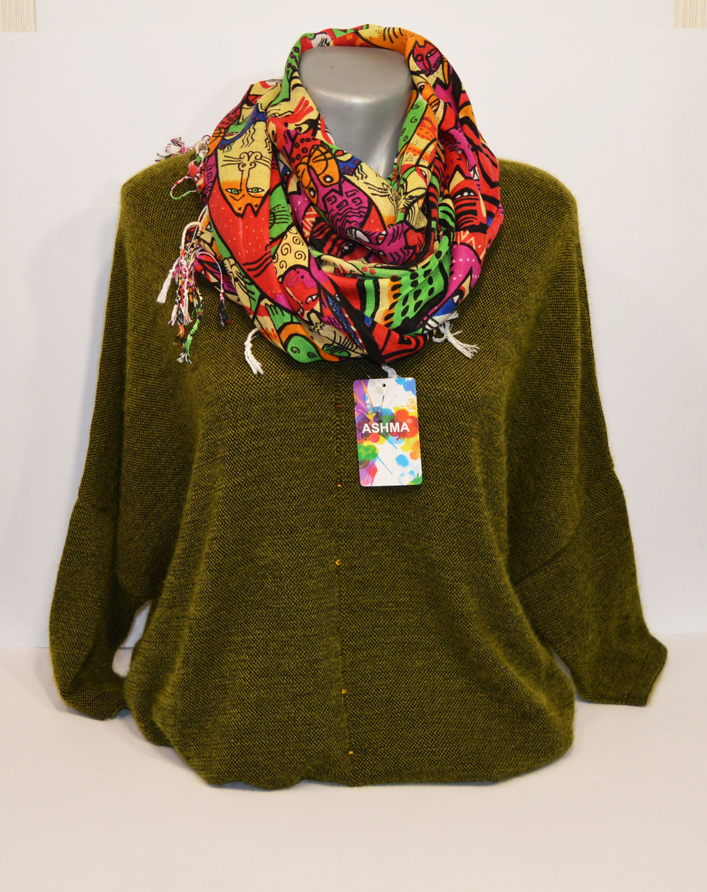 Красный женский шарф Ashma