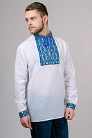 Натуральная хлопковая мужская вишиванка с синим орнаментом