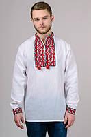 Натуральная хлопковая мужская вишиванка с красным орнаментом