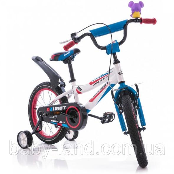 """Велосипед детский двухколесный 16 дюймов Azimut Fiber 16"""" бело-голубой"""