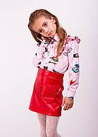 """Модная детская юбка для девочки """"Ирида"""" красная"""