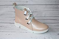 Ботинки женские кожаные 0066, цвет розовый