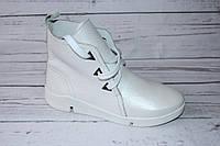 Ботинки женские кожаные 0066, цвет белый
