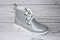 Ботинки женские кожаные 0066, цвет светло-серый