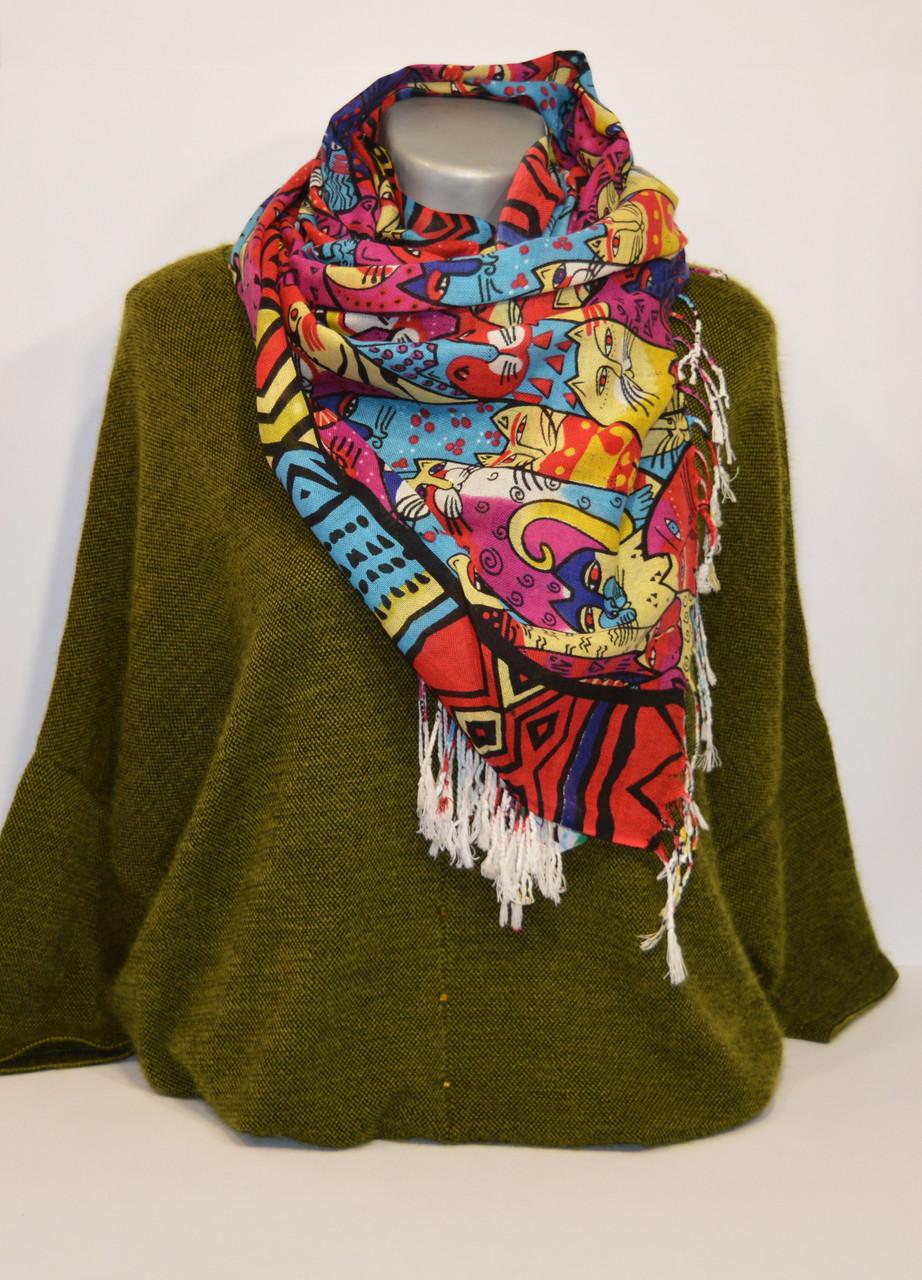 Красно-голубой женский шарф Ashma
