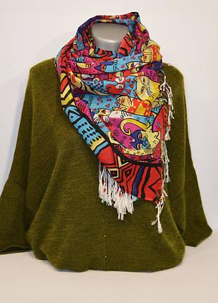 Красно-голубой женский шарф Ashma, фото 2