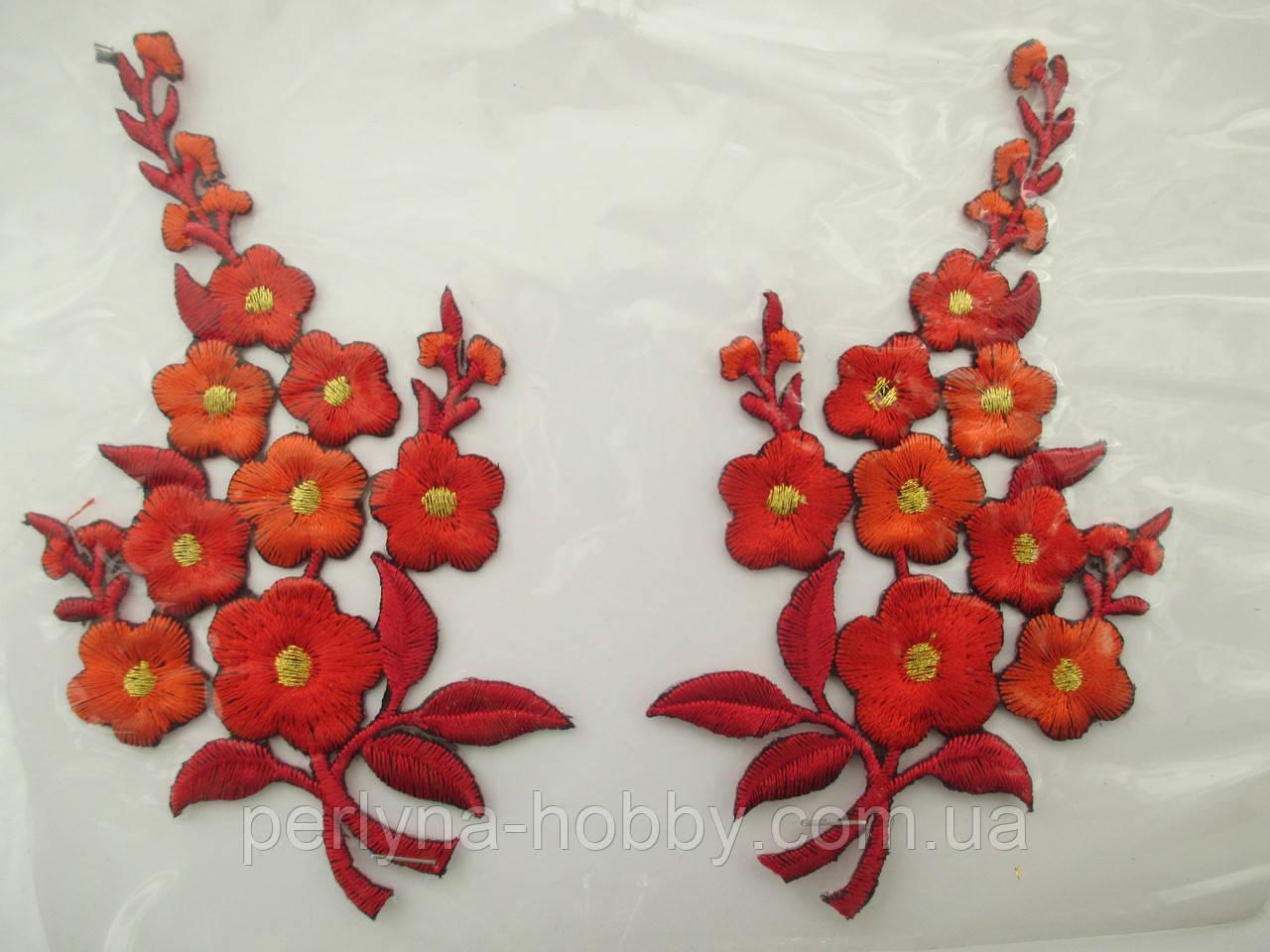 """Аплікація вишивка клейова парна """"Квіти"""" оранжеві на чорному, 12см 1пара"""