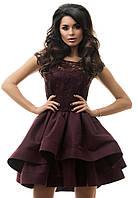 Неповторимое женское платье приталенного фасона с гипюровым верхом и пышной двухслойной юбкой атлас