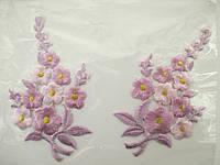"""Аплікація вишивка клейова парна """"Квіти"""" бузкові, 12 см 1пара"""