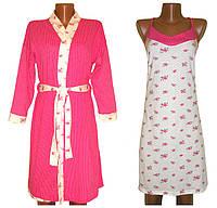Комплект двойка Кэтти Роза, халат и ночная рубашка, 100 % хлопок. р.р.42-54