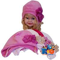 Детская шапка арт.120 , велюровая (весна-осень), для девочки (р-р 48-50)
