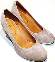 Туфли на каблуке Ilona 1/08, визон, велюр, широкий каблук 7,5 см