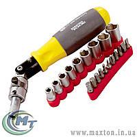 Отвёртка реверсивная с карданом с комплектом насадок 20 элементов MasterTool
