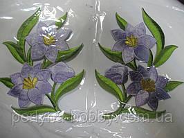 """Аплікація вишивка клейова  """"Квіти"""" бузкові, 15 см  1пара"""