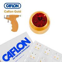 Серьги иглы Caflon позолота Гранат 4 мм
