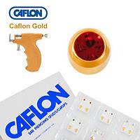 Серьги для прокола ушей Caflon позолота Гранат 3 мм