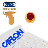 Серьги для прокола ушей Caflon позолота Гранат 2 мм