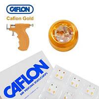 Серьги для прокола ушей Caflon позолота Кристалл 3 мм