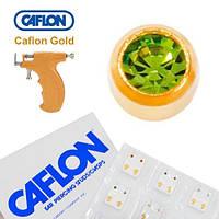 Серьги иглы Caflon позолота Перидот 4 мм