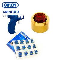 Серьги для прокола ушей Caflon с насадками позолота Гранат 3 мм