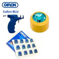 Серьги для прокола ушей Caflon с насадками позолота Аквамарин 3 мм