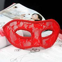 Маска для карнавала кружевная красная