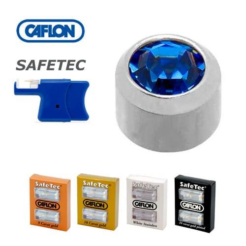 Серьги для прокола ушей Caflon Safe Tec Сапфир 3 мм