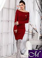 Вязаное платье Ксюша вязаный трикотаж 42-48р т. красный