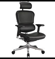 Кресло компьютерное, эргономичное, натуральная кожа черного цвета ERGOHUMAN PLUS
