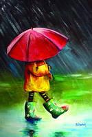 """Красива листівка """"Дівчинка під парасолькою"""" кольорова"""